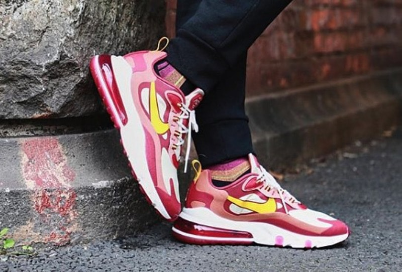[해외]​나이키 에어맥스270 리액트 Nike Air Max 270 React Noble Red Team Red Dusty Peach Dark Sulfur AO4971-601