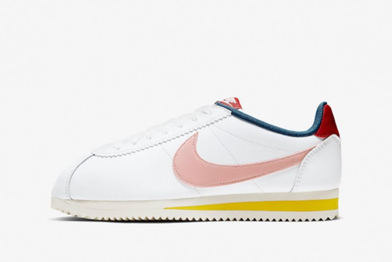 [해외]나이키 우먼스 클래식 코르테즈 Nike W Classic Cortez​ Summit White​ ​Gym Red Chrome Yellow​ Coral Stardust 807471-114